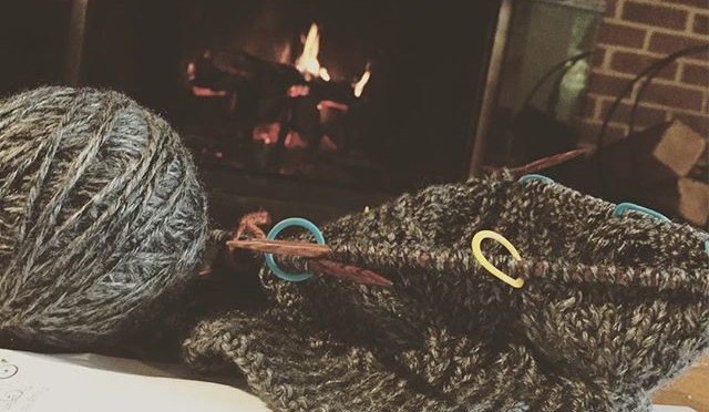 Wordless Wednesday – Knitting by the Fire