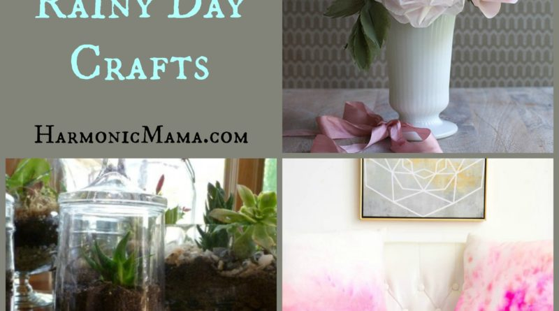 Images of three crafts for this weeks friday finds. Water color pillows, Terrarium and tissue paper roses.